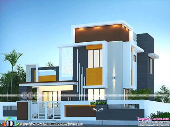 Flat roof style beautiful modern home rendering