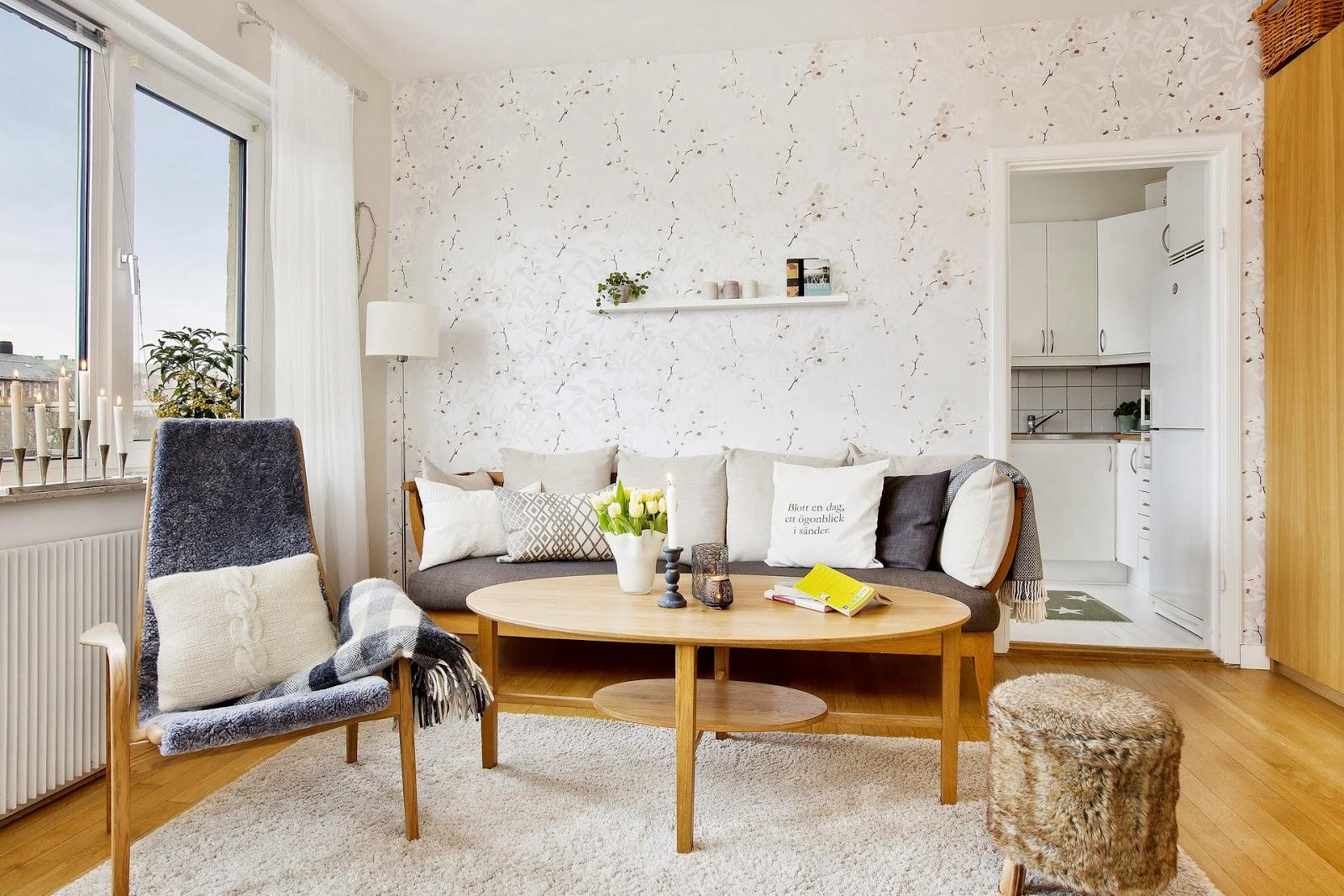Como decorar un piso con muebles en color madera boho - Como amueblar un piso ...