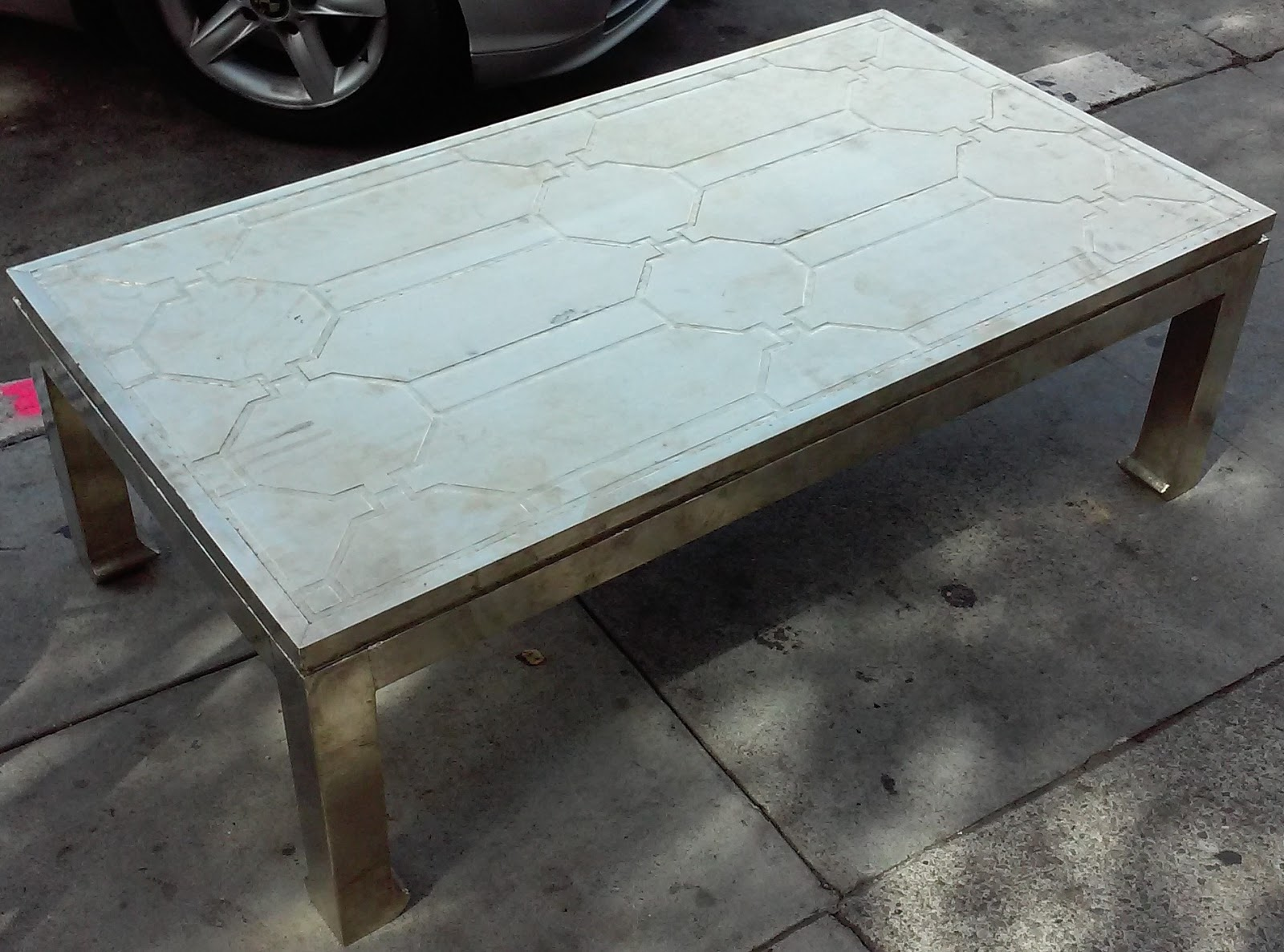 Uhuru Furniture Collectibles Sold 52 Hammered Metal Plated Coffee Table 80