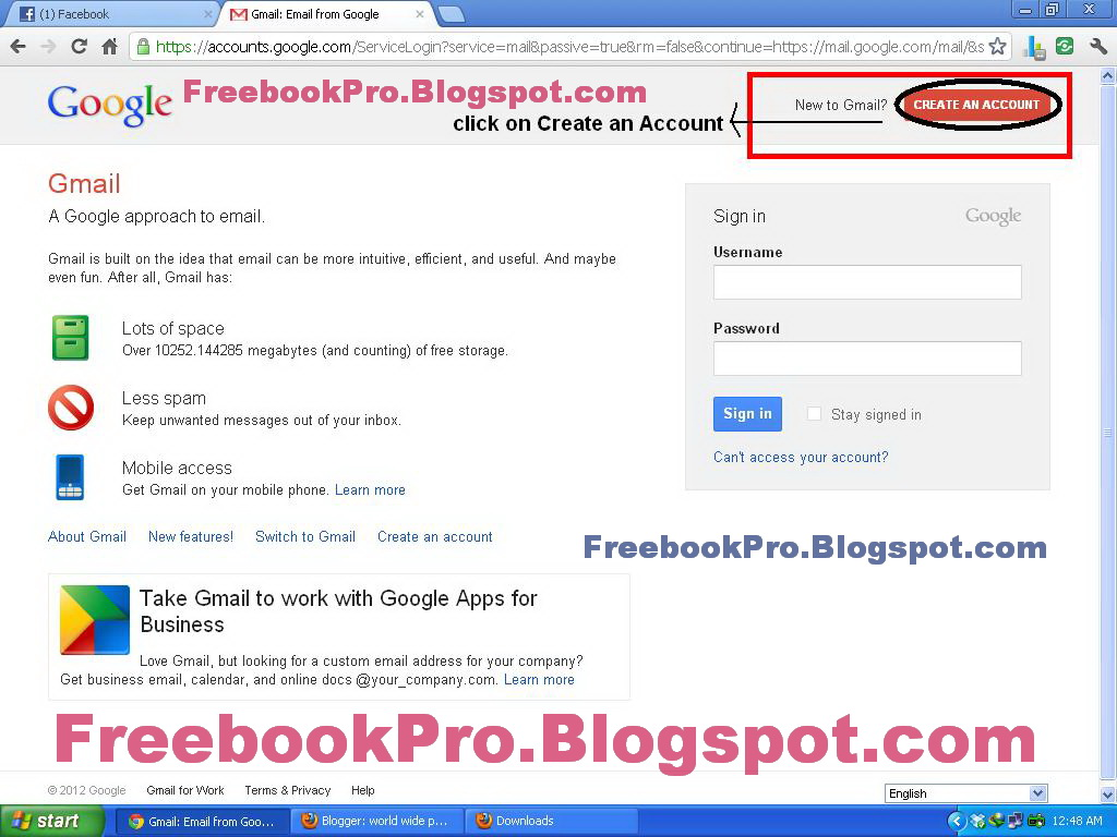 World Wide Professional Book Www Freebookpro Blogspot Com How To Create Gmail Account
