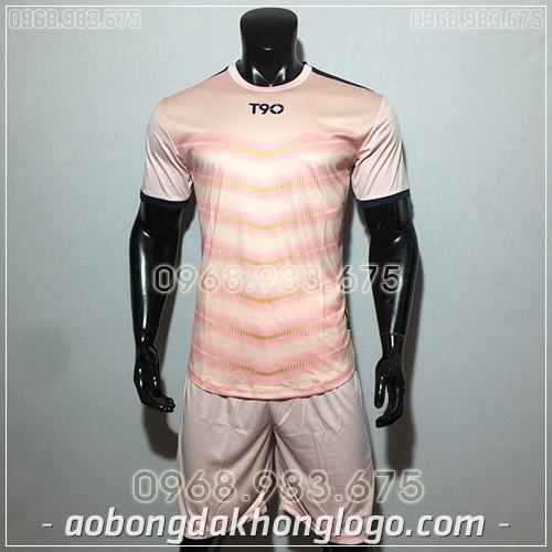 Áo bóng đá ko logo T90 LEG màu hồng