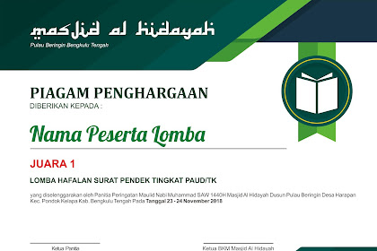 Contoh Desain Piagam Penghargaan Pemenang Lomba Acara Maulid Nabi Muhammad SAW
