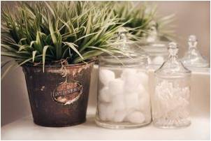 Cotton balls and Q-tips stored inside glass containers