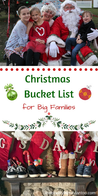 Christmas Bucket List (for Big Families)! Celebrating the season doesn't have to be expensive...JUST fun! After all, quality time spent together as a family is what matters the most. #Christmas #ChristmasBucketList #ChristmasTraditions #FamilyFun