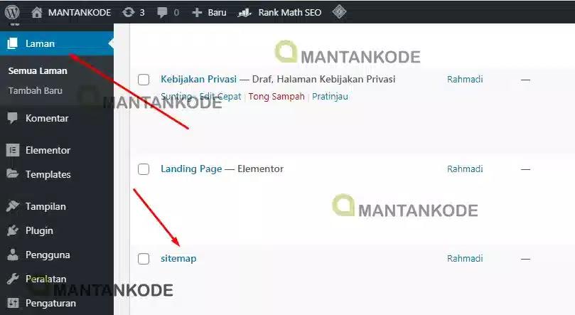 Cara Membuat sitemap otomatis di WordPress 02 Tambah Laman Baru - mantankode copy