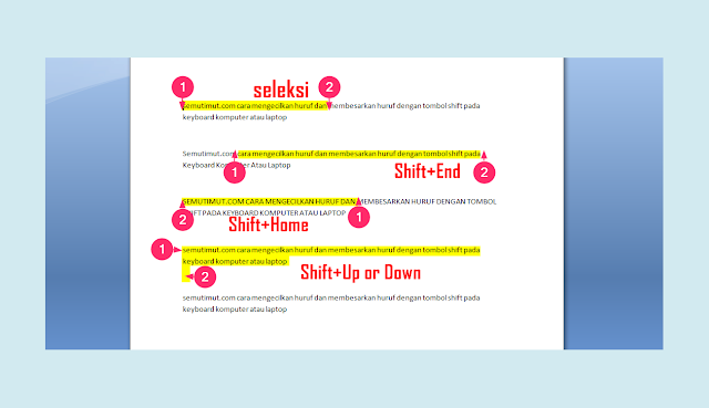 fungsi tombol shift+tab