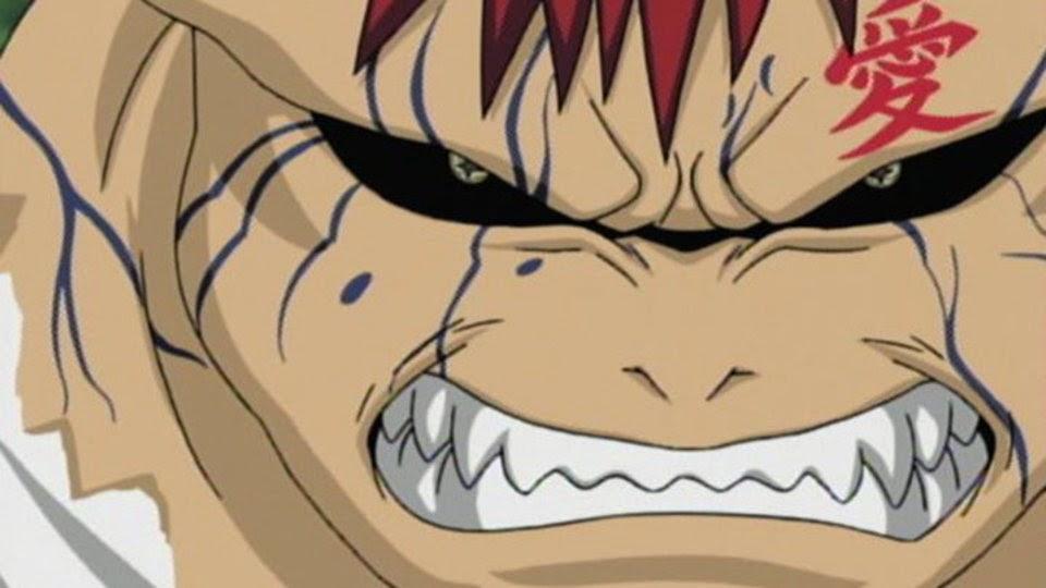 Gaara transformándose en el Shukaku