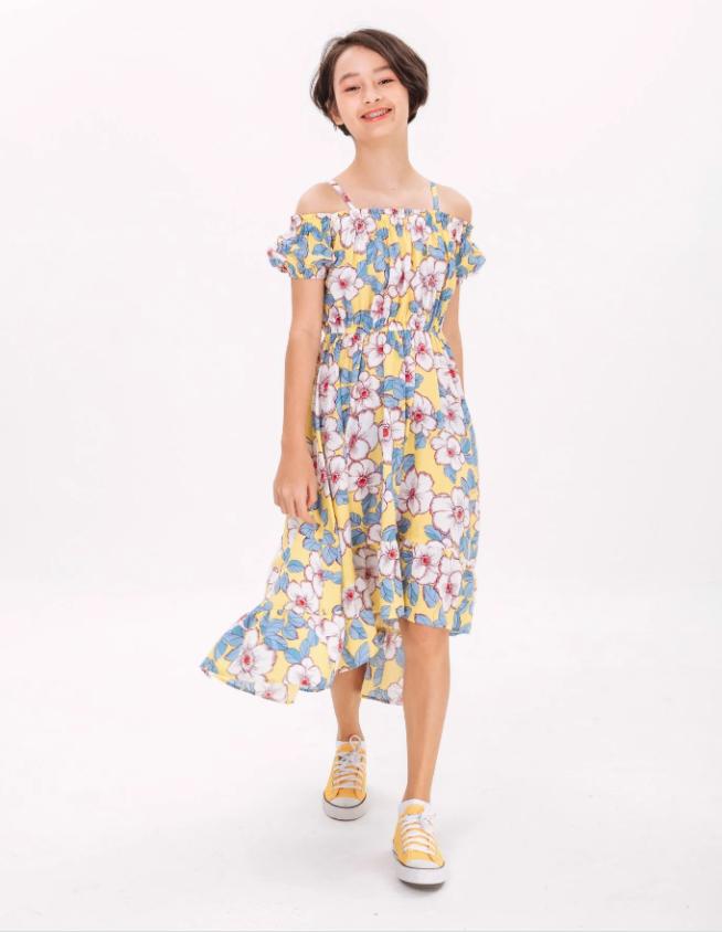 Áo Đầm Bé Gái AOP Midi Dress