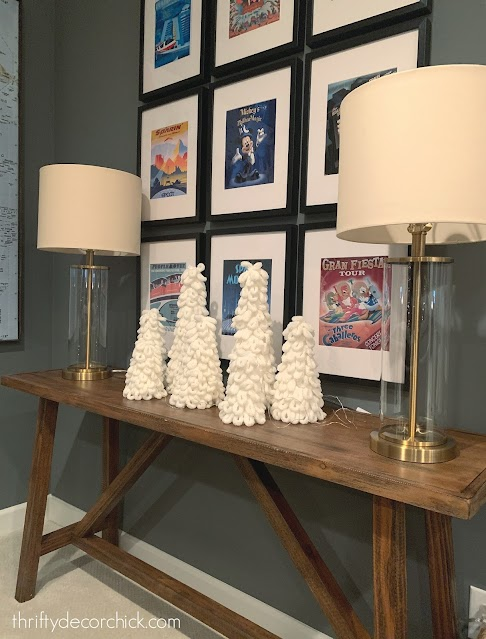 Rustic table with fluffy craft trees