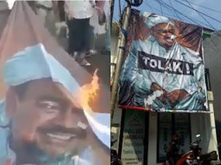 Poster HRS yang Tak Mempan Dibakar Provokator Kini Justru Berdiri Tegak di Tepi Jalan
