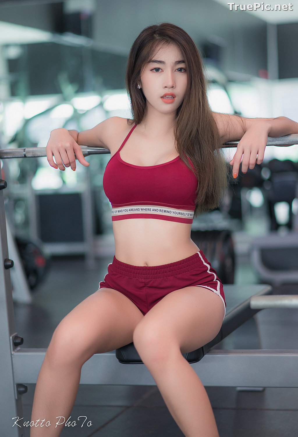 Image Thailand Hot Beauty Model - Nisa Khamarat - Red and Black Fitness Set - TruePic.net - Picture-9