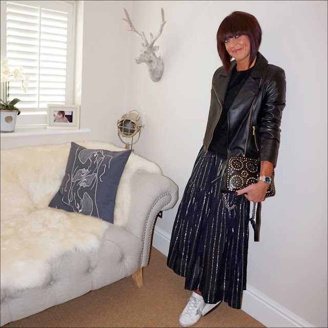 my midlife fashion, boden cashmere crew neck jumper, baukjen everyday biker jacket, golden goose superstar low top leather trainers, village england penshaw leather studded cross body bag, isabel marant etoile metallic stripe maxi skirt