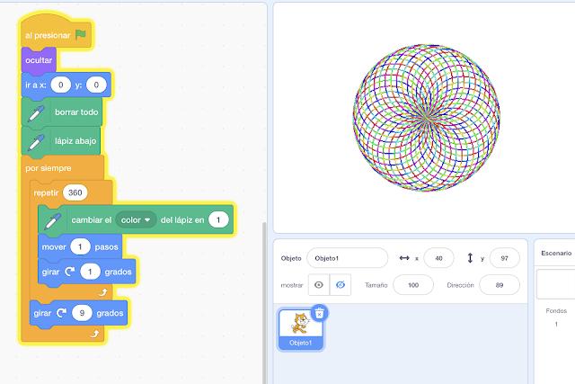 Trazado Geométrico creado con Scratch