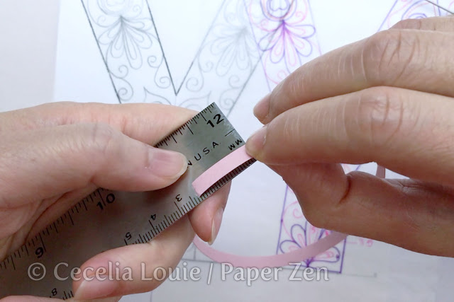 quilling letter y mandala pattern tutorial - how to estimate strip length