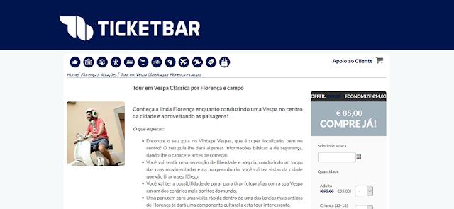 Ticketbar para ingressos para um tour de vespa clássica por Florença
