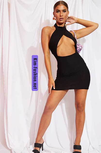 Black Brushed Rib High Neck Bust Panel Bodycon Dress