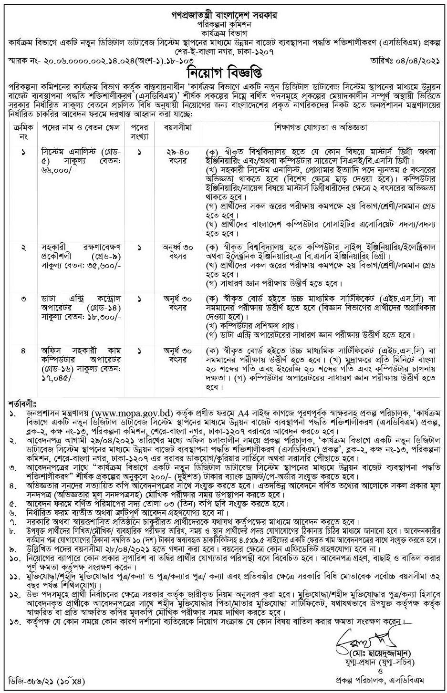 Planning Division Job Circular 2021