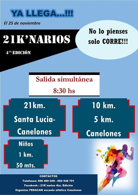 Media maratón 21k´narios Santa Lucía - Canelones y 10k 5k (25/nov/2018)
