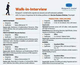 Job Interview For Diploma/  ITI/ B.Tech/ Msc/ Bsc/ M.Tech/ B.Pharma In Biological E. Ltd Hyderabad