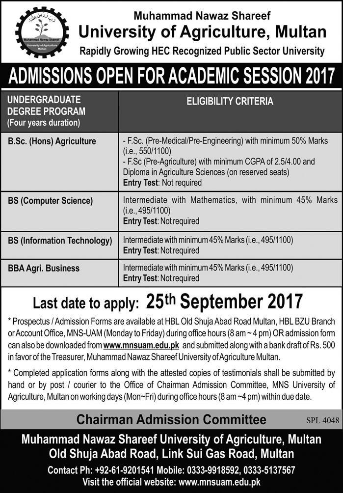 Admissions Open in Muhammad Nawaz Sharif University of Agriculture Multan - 2017