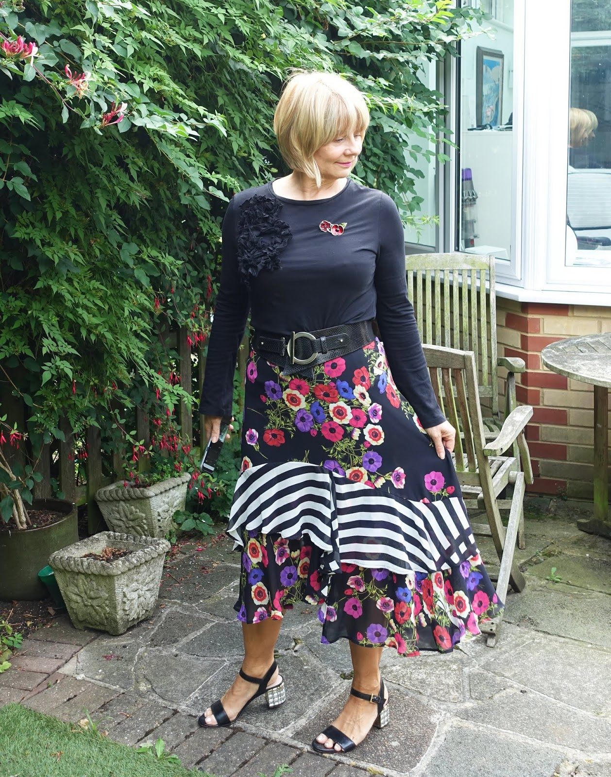 Is This Mutton style blog shows how older women can look more fashionable in white trainers when wearing midi skirts or dresses