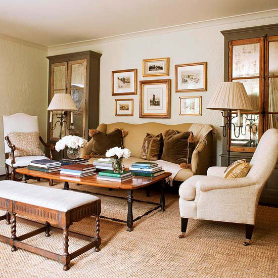 artwork for formal living room extension cord modern furniture 2013 neutral decorating ideas from bhg a coffee table and chair slipcovered in lime velvet give this youthful energy while yards of color fabric subtly soften