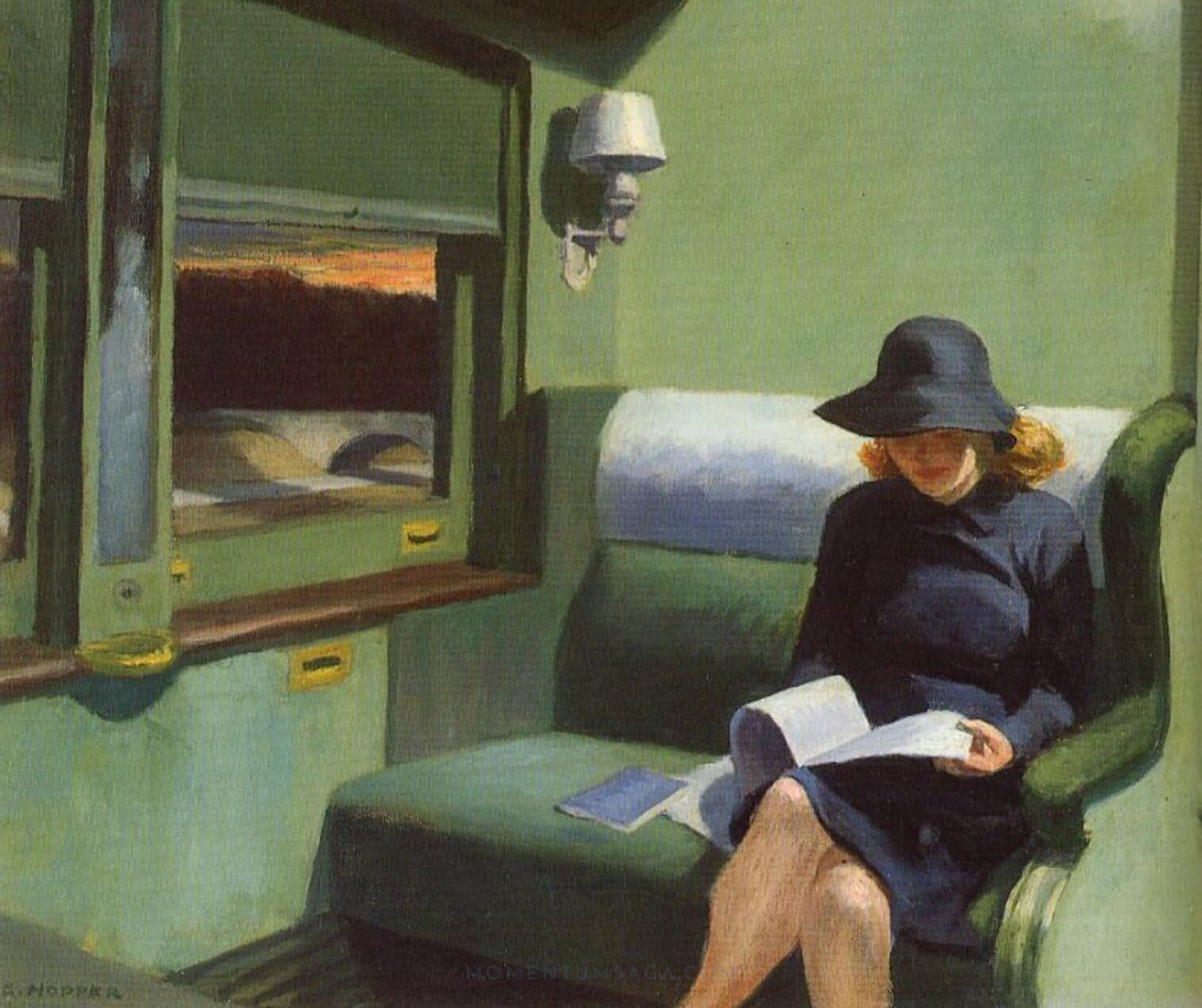 Compartment C Car, por Edward Hopper (1938)
