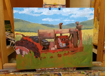 tractor art abandoned painting work in progress