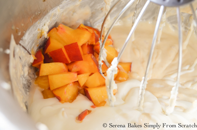 Frozen Fresh  Peach Cheesecake fold in Peaches.