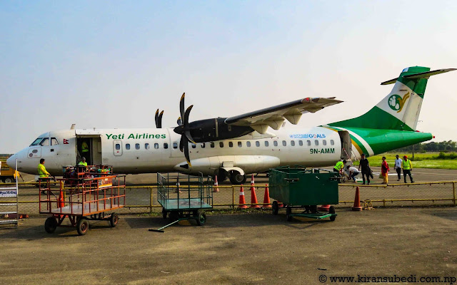 9N AMM ATR 72 500 aircraft of yeti airlines at Bhairahawa airport