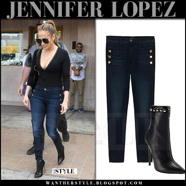 Jennifer Lopez in skinny button jeans j brand zion and black sunglasses quay needing fame what she wore april 2017