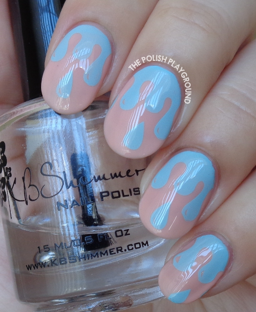 Pink with Blue Polish Drips Stamping Nail Art
