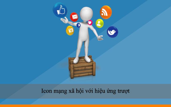 Icon mạng xã hội với hiệu ứng trượt