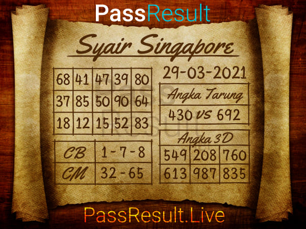 Prediksi Syair - Senin, 29 Maret 2021 - Prediksi Togel Singapore
