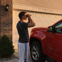 testing out small eclipse binoculars