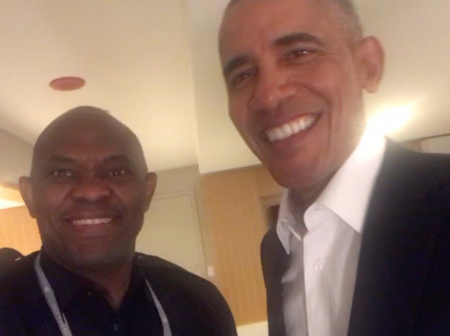 Tony Elumelu gets up close and personal with Barack Obama at the Obama Summit