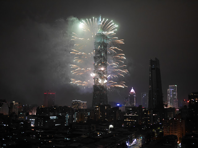 New Year's fireworks for 2018 at Taipei 101 in Taipei, Taiwan