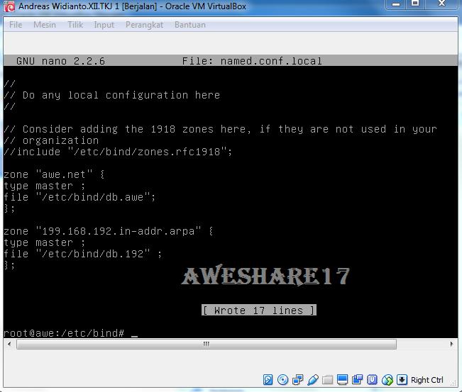 Awe Share17: Konfigurasi DNS Server (CLI) Debian 7.6 Di