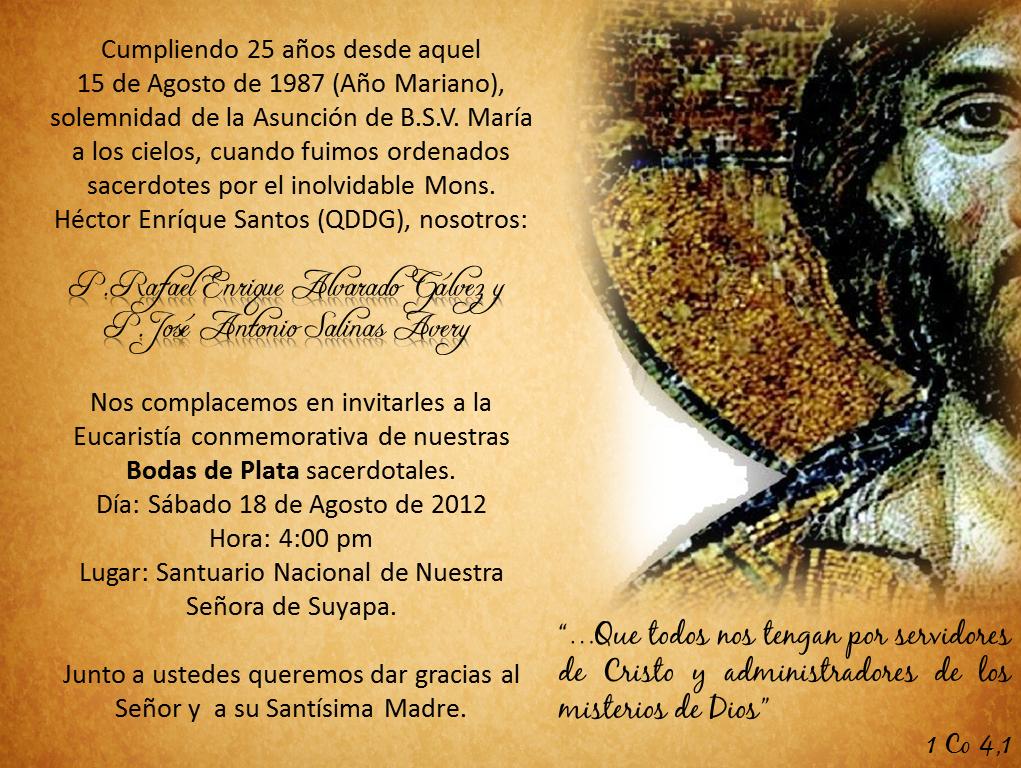 Frases Para Un Aniversario De Bodas: 25 Aniversario Sacerdotal P. Rafael Alvarado