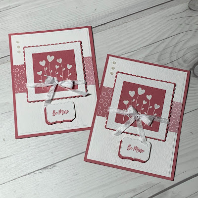 White embossed hearts and Rococo Rose Designer Series Paper on a handmade Valentine Card
