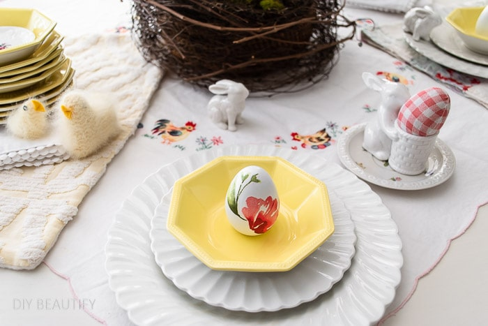 Easter tablescape with vintage ironstone, linens and chicks