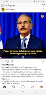 El presidente de la República, Danilo Medina, solicitó un nuevo estado de emergencia