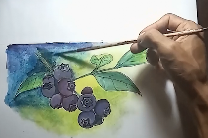 Menggambar Buah Blueberry Menggunakan Cat Air