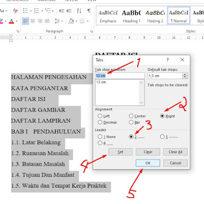 setting halaman daftar isi manual di word 2013