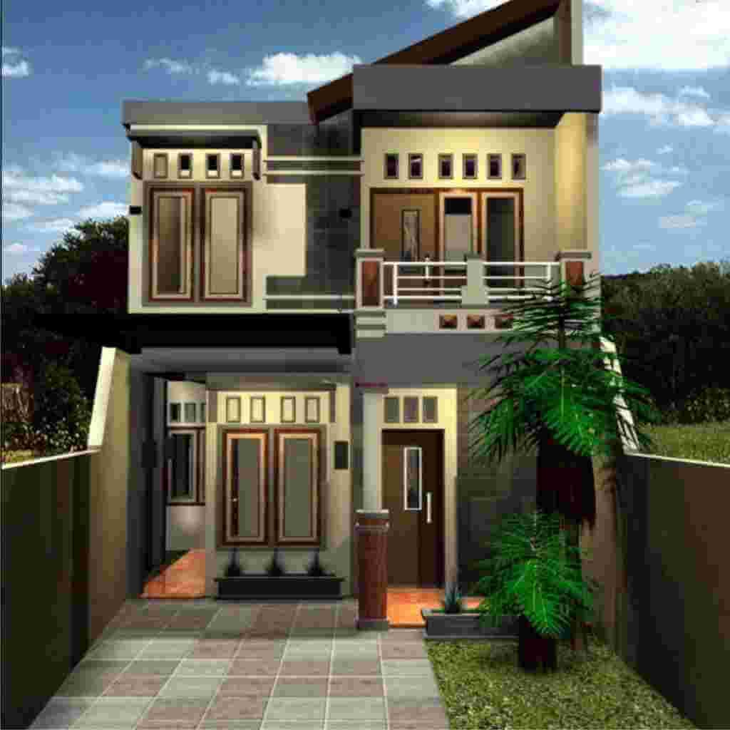 Contoh Desain Rumah Memanjang Ke Balakang 2 Lantai dengan Garasi Mobil dan Taman Minimalis