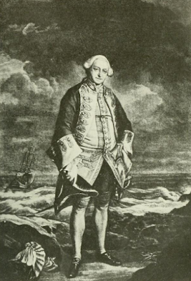 Admiral Edward Boscawen from the painting  by Sir Joshua Reynolds from An Historical   Journal of the Campaigns in North America  by Captain John Knox (1914)