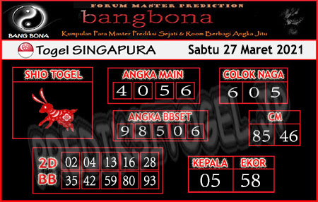 Prediksi Bangbona SGP Sabtu 27 Maret 2021
