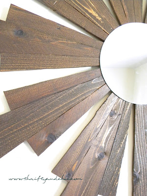 Sunburst Mirror -Ballard Designs Knock off made from Cedar planks only for $11!