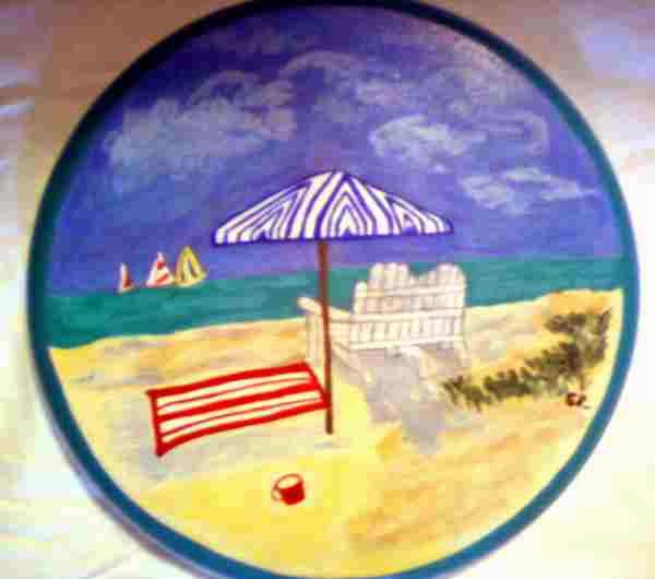 hand painted bar and kitchen stools in beach theme