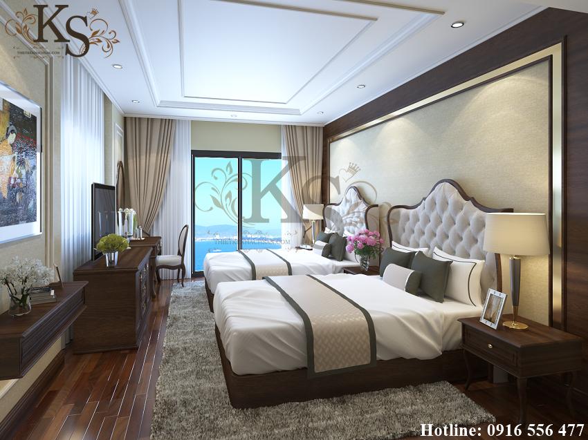 Hình ảnh: Vẫn sử dụng chất liệu gỗ làm chủ đạo, thiết kế nội thất phòng ngủ khách sạn này tạo nên cảm giác cổ điển chuẩn Pháp khiến khách nghỉ dưỡng cảm thấy hài lòng
